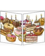 uitklapbare verjaardagskaart cache-cache - gebakjes