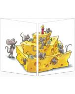 uitklapbare verjaardagskaart cache-cache - muizen met taart van kaas