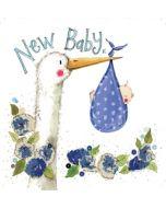 geboortekaart alex clark - new baby - ooievaar blauw