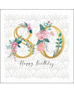 80 jaar - luxe verjaardagskaart woodmansterne - happy birthday - bloemen