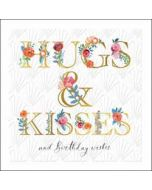 luxe verjaardagskaart woodmansterne - hugs & kisses and birthday wishes