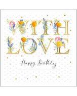luxe verjaardagskaart woodmansterne - with love - happy birthday