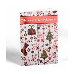 6 luxe kerstkaarten - merry christmas - cadeautje - sok - kerstboom - klokken