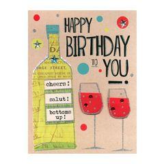grote verjaardagskaart A4 - happy birthday to you - cheers salut bottoms up