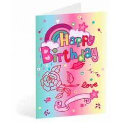 verjaardagskaart busquets - happy birthday - regenboog