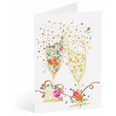 wenskaart busquets - champagneglazen