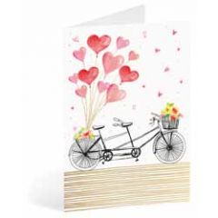 wenskaart busquets - fiets met hartballonnen