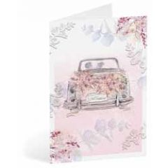 trouwkaart busquets - bruidspaar in auto - just married