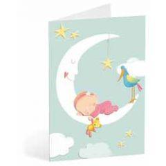 geboortekaart busquets - baby meisje op maan
