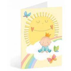 geboortekaart busquets - baby jongen op wolk