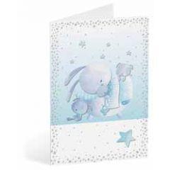 geboortekaart busquets - dieren in wieg - blauw
