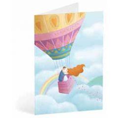 trouwkaart busquets - bruidspaar in luchtballon - just married