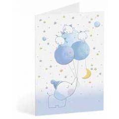 geboortekaart busquets - olifantje met ballonnen - blauw