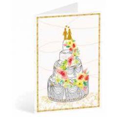 trouwkaart busquets - bruidspaar op taart