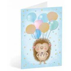 wenskaart busquets - egel met ballonnen