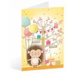 wenskaart busquets - egel met ballonnen - happy day