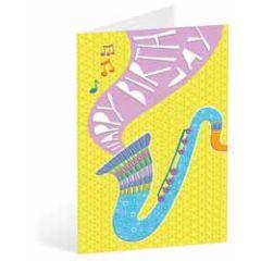 verjaardagskaart busquets - happy birthday - saxofoon muziek