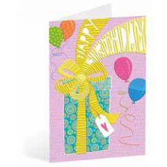 verjaardagskaart busquets - happy birthday - cadeau en ballonnen