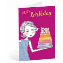 verjaardagskaart busquets - happy birthday - dame met taart