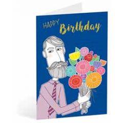 verjaardagskaart busquets - happy birthday - man met bos bloemen