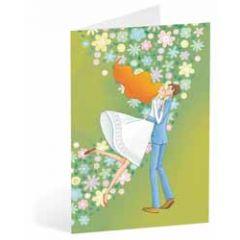 trouwkaart busquets - bruidspaar groen
