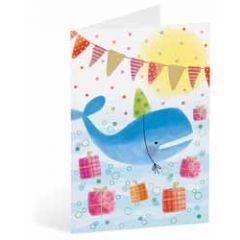 kinderkaart busquets - walvis met cadeautjes