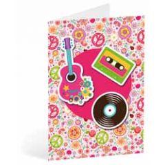 wenskaart busquets flower power - gitaar cassettebandje lp