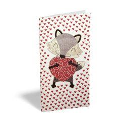 wenskaart - cadeau envelop - vosje met hart
