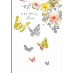 beterschapskaart - get well soon - vlinders en rozen