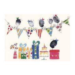 felicitatiekaart klara de kraai - cadeautjes taart en slingers