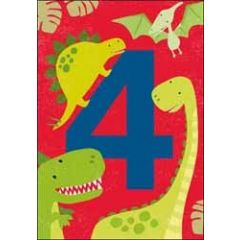 4 jaar - verjaardagskaart - dinosaurus