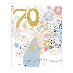 70 jaar - grote verjaardagskaart woodmansterne - birthday wishes - bloemen