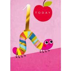 1 jaar - verjaardagskaart 1 today - rups roze