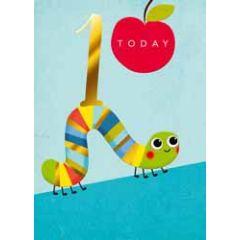 1 jaar - verjaardagskaart 1 today - rups blauw