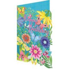 laser gesneden verjaardagskaart roger la borde - happy birthday - bloemen