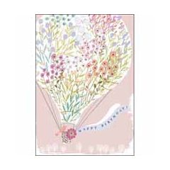 verjaardagskaart woodmansterne pink - happy birthday - luchtballon met bloemenprint