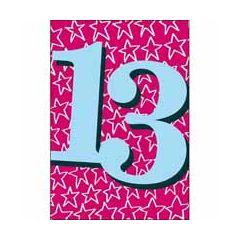 13 jaar - verjaardagskaart woodmansterne - blauw roze