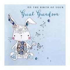 luxe geboortekaart achterkleinzoon - on the birth of your great grandson - konijn