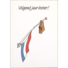 ansichtkaart  - volgend jaar beter - vlag halfstok en boekentas - tjalf sparnaay