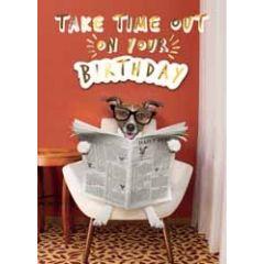 verjaardagskaart - take time out on your birthday - hond