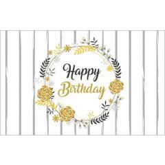 verjaardagskaart - happy birthday - bloemenkrans