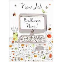 wenskaart nieuwe baan - new job brilliant news - computer