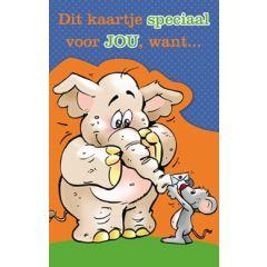 verjaardagskaart - dit kaartje speciaal voor jou, want... - olifant en muis