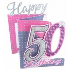 50 jaar -3d verjaardagskaart cutting edge - happy 50th birthday - roze