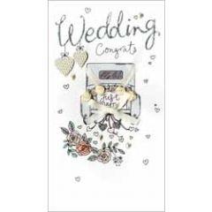 grote luxe trouwkaart - wedding congrats just married - auto
