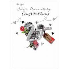 25 jaar getrouwd - grote luxe felicitatiekaart - on your silver anniversary congratulations