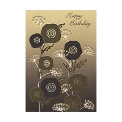 verjaardagskaart  -  happy birthday - bloemen zwart goud (2)