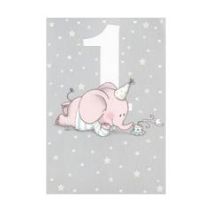 1 jaar - verjaardagskaart - olifantje blauw grijs