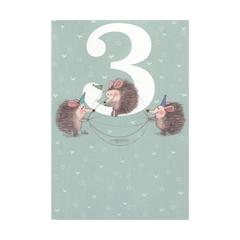 3 jaar - verjaardagskaart -  drie egels blauw