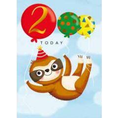 2 jaar - verjaardagskaart 2 today - luiaard met ballonnen